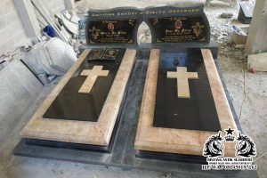 Makam marmer custome kristen kembar